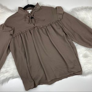 Everly Brown Ruffle Top Blouse M